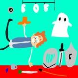 Il fantasma con potere magico, ha afferrato il guerriero Bob illustrazione di stock