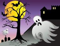Il fantasma di Halloween batte le tombe del castello alla notte Fotografie Stock Libere da Diritti