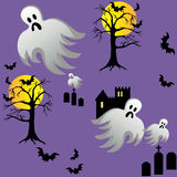 Il fantasma di Halloween batte le tombe del castello alla notte Fotografia Stock Libera da Diritti