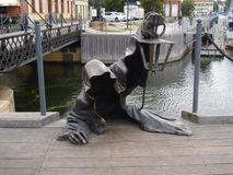Il fantasma nero nel porto di Klaipeda, Lituania Fotografie Stock Libere da Diritti