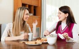 Il fare chiacchiere della tavola delle giovani donne e tè bevente Fotografie Stock