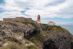 Il faro a capo Saint-Vincent, Sagres, Portogallo Fotografia Stock