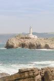Il faro della linea costiera di Santander Immagini Stock