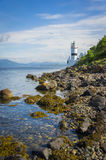 Il faro di Cloch alla costa del punto di Cloch - Inverclyde in Scozia Fotografie Stock