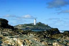 """Il faro di Godrevy era nel 1858 †sviluppato """"1859 sull'isola di Godrevy in st Ives Bay, Cornovaglia Fotografia Stock"""
