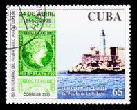 Il faro di Morro, 150th anniversario del cubano timbra il serie, c Fotografie Stock