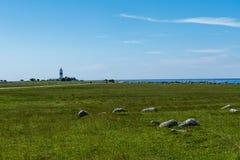 Il faro gennaio alto all'estremità del sud dell'isola Oland Fotografia Stock Libera da Diritti