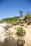 Il faro sopra una montagna Fotografia Stock