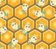 Il favo di esagono gira il modello senza cuciture dell'ape di forma Immagine Stock
