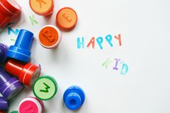 Il favorito ha colorato i bolli dell'alfabeto per tempo dei bambini gratis Fotografia Stock