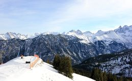 Il Fellhorn nell'inverno Alpi, Germania Fotografie Stock Libere da Diritti