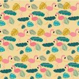 Il fenicottero pastello rosa dell'estate e le foglie esotiche attuali modellano il fondo senza cuciture royalty illustrazione gratis