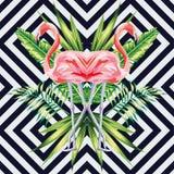 Il fenicottero rosa con la banana tropicale lascia lo stile dello specchio Immagini Stock Libere da Diritti