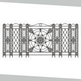 Il ferro battuto ornamentale, recintante sul bianco ha isolato il fondo Fotografia Stock Libera da Diritti