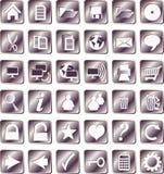 Il ferro ha quadrato le icone Fotografie Stock