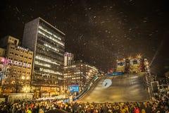 Il festival della neve al parco di Odori, sullo stato della concorrenza dello snowboard del ` della collina del parco del ` liber fotografia stock libera da diritti