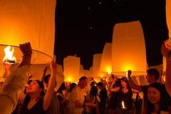 Il festival di lanterna del fuoco a Chiang Mai, Tailandia Fotografia Stock