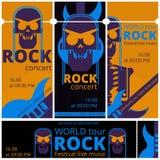Il festival di musica rock ettichetta i modelli dell'illustrazione di vettore per il concerto rock in tensione del cranio e della Fotografia Stock Libera da Diritti