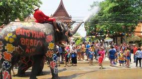 Il festival di Songkran è celebrato con gli elefanti a Ayutthaya Fotografie Stock Libere da Diritti