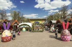 Il festival Pasqua a Mosca, la decorazione del quadrato di Pushkin Fotografia Stock