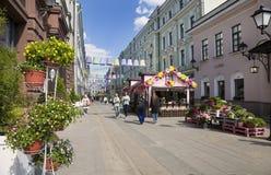 Il festival Pasqua a Mosca, la decorazione nel pereulok di Stoleshnikov Fotografia Stock