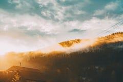 Il fianco della collina con legno si è acceso dal sole Fotografia Stock