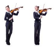 Il fiddler della donna isolato su fondo bianco immagini stock