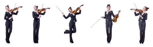 Il fiddler della donna isolato su fondo bianco immagine stock