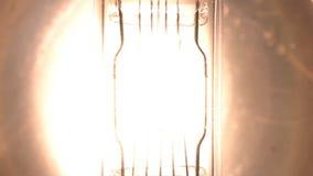 Il filamento della lampadina emette luce lampadina infiammante lenta del tungsteno Flash del proiettore video d archivio
