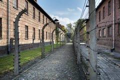 Il filo spinato recinta il campo di concentramento di Auschwitz II in Polonia Immagine Stock