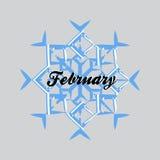 Il fiocco di neve blu con la parola febbraio ha isolato Immagine Stock