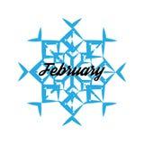 Il fiocco di neve blu con la parola febbraio ha isolato Immagini Stock Libere da Diritti