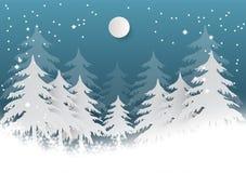 Il fiocco di neve con l'albero su fondo blu per il Natale condisce, Vector lo stile di carta di arte dell'illustrazione Immagini Stock