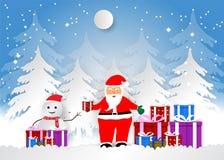 Il fiocco di neve con Santa ed i contenitori di regalo per il Natale condiscono, Vector lo stile di carta di arte dell'illustrazi Immagini Stock Libere da Diritti