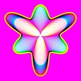 Il fiore al neon fantastico, forma astratta con i lotti di mescolamento allinea Fotografie Stock Libere da Diritti