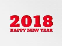 Il fiore del fondo dell'insegna della carta da parati del buon anno 2018 con carta ha tagliato l'effetto nel colore rosso Fotografia Stock