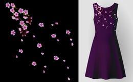 Il fiore del giacimento del ricamo sistema il fiore di rosa della ciliegia della toppa della collana Derisione realistica decorat Fotografia Stock