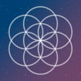 Il fiore del simbolo di vita su un collegamento cosmico circonda il sacco dello spazio illustrazione di stock
