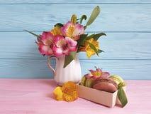 Il fiore di alstroemeria del vaso, macaron ha colorato il fondo di legno, prima colazione che di legno blu cuociono Fotografie Stock