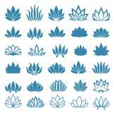 Il fiore di Lotus ha ordinato le icone messe Fotografia Stock Libera da Diritti