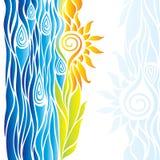 Il fiore giallo astratto con le foglie ed il blu ondeggia su un BAC bianco Fotografie Stock