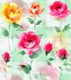 Il fiore impressionista di Rosa della pittura a olio fiorisce il modello senza cuciture Fotografie Stock