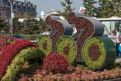Il fiore mette in mostra la composizione nel parco olimpico Immagine Stock