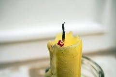 Il fiore minuscolo sulla candela Immagine Stock