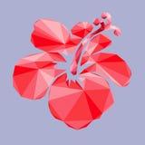 Il fiore rosso isolato, progettazione del poli poligono basso Fotografie Stock Libere da Diritti