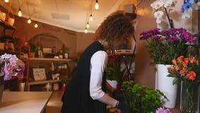 Il fiorista prepara un mazzo dei fiori per la vendita ai clienti nell'amore Progettazione floreale, arti floreali, creare fiore stock footage