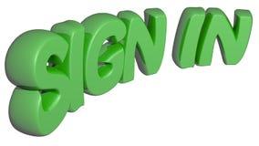 Il ` FIRMA DENTRO il ` scritto con le lettere verdi 3D su fondo bianco - rappresentazione 3D Fotografie Stock