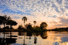 Il fiume al tramonto, Zambia di Zambeze fotografia stock