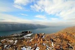 Il fiume Columbia nell'inverno Fotografie Stock Libere da Diritti