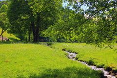 Il fiume con il sole riflette ai Vosgi fotografie stock